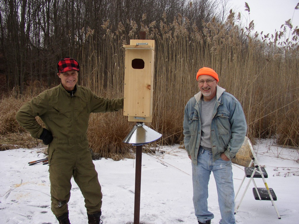 The Trust gives big thanks to Eric for building the nesting box to exact specifications and to Gary for his help installing it.